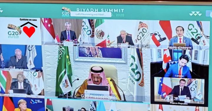 LLAMA AMLO AL G20 A TRABAJAR CONJUNTAMENTE ANTE COVID Y CRISIS ECONÓMICA
