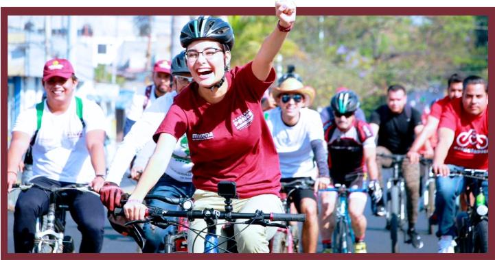 Congrega Geraldine Ponce a numerosos ciclistas de Tepic