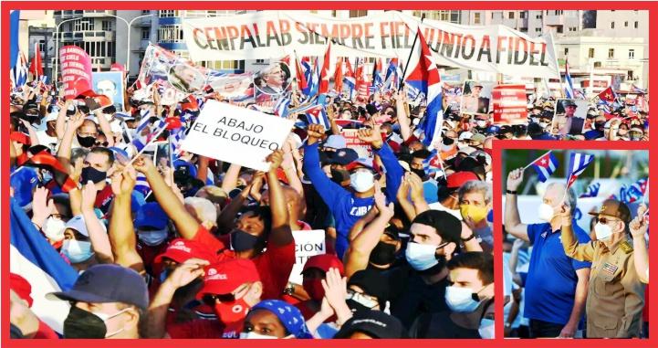 Asiste Raúl Castro a marcha de respaldo al gobierno de Cuba